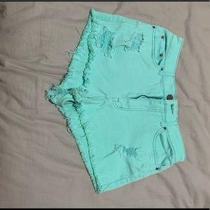 BDG Teal High Rise Cheeky Shorts